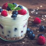 yogurt topped with fresh berries